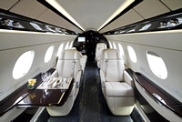 Private jet airplane interior
