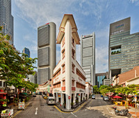 """Rocket"" building at the junction of Circular Road and Lorong Telok, Singapore. Designed by Ho Kwong Yew in 1938."