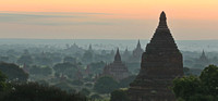Bagan plains of pagodas at sunrise panoramic