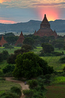 Bagan plains of pagodas at sunset